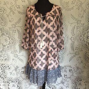 Mixed Pattern, Boho Style Dress